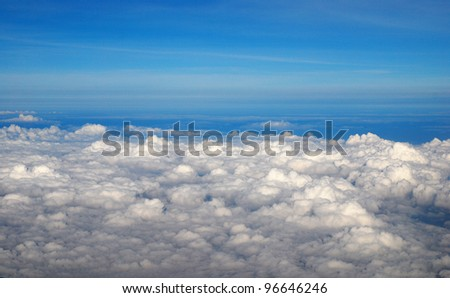 View above the earth at the clouds below