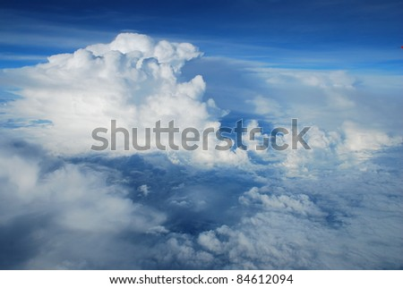View above the sky from airplane