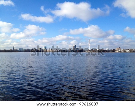 View across lake Alster in Hamburg, Germany, on a beautiful Spring day.