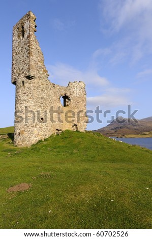 View across Loch Assynt Sutherland Highlands Scotland - stock photo