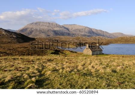 View across Loch Shin Sutherland Highlands Scotland
