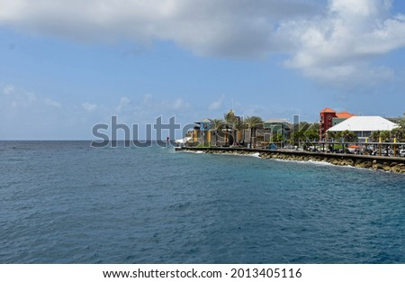view across St. Anna Bay in Willemstad towards historic Rif Fort along the waterfront in the Otrobanda quarters of Curacao Stockfoto ©
