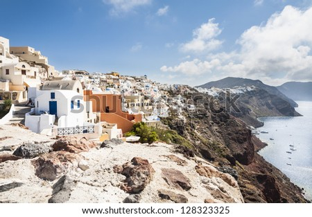 View across the collapsed caldera of Santorini, South Aegean, Greece