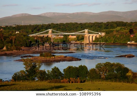 View Across the Menai Straits from Anglesey North Wales UK with the Thomas Telford Suspension Bridge