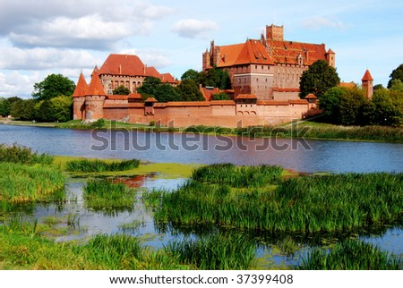 View across the river to the castle of Malbork in Poland