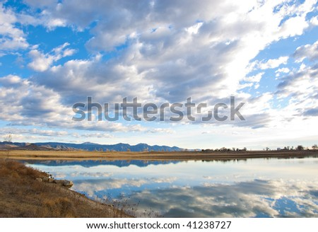 View across to the far shore of a lake on the Colorado prairie near Boulder