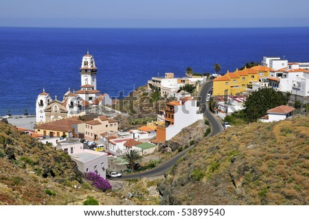 View aerial  the town of Candelaria with its famous basilica of the eastern part of Tenerife in the Spanish Canary Islands