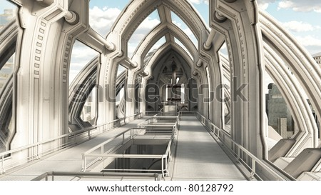 View along a bridge hallway in a futuristic sci-fi city building, 3d digitally rendered illustration