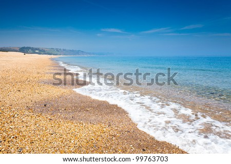 View along Slapton Sands at Torcross Devon England UK