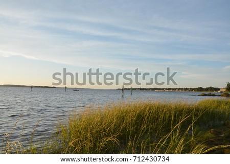 View along the Cape Fear River in Carolina Beach, North Carolina #712430734