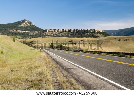view along the Chief Joseph Scenic Byway in Wyoming