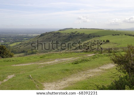View along the South Downs at Ditchling Beacon near Brighton. East Sussex. England