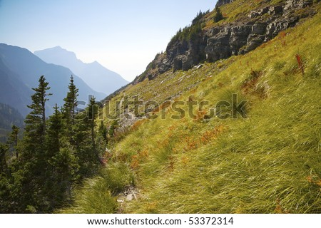 View along the trail to Hidden Lake, Glacier National Park, Montana, United States.