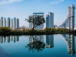 View and reflection of buildings