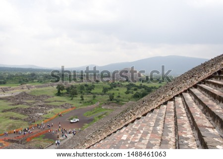 View and Stairs at Archeological Site of the Pyramid of the Sun and Pyramid of the Moon, Teotihuacán, State of Mexico, Mexico
