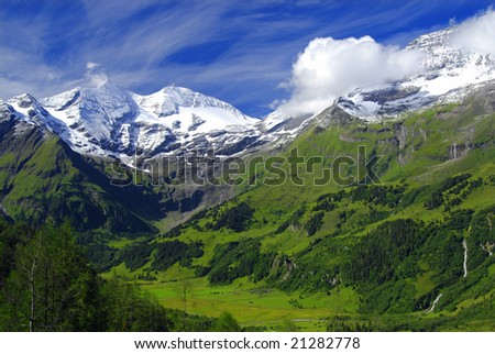 View at alpine mountain peaks - Grossglockner - covered by snow