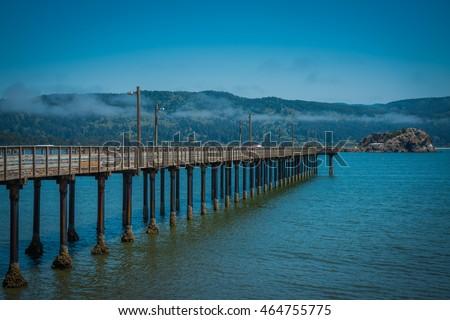 View at B Street Pier, Crescent Harbor, Crescent City, California, USA.