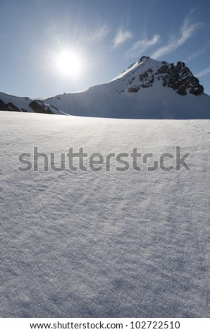 view at backlight of Bacias peak, Panticosa, Pyrenees, Huesca, Aragon, Spain - stock photo