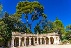 View at beautiful archway pavilion on Castle Hill in Nice, France