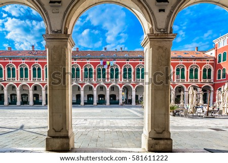 View at colorful mediterranean architecture details in old town square in city center of Split, european famous travel places.