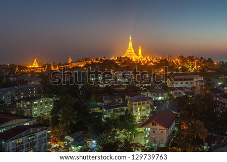 View at dawn of the Shwedagon Pagoda Yangoon Myanmar