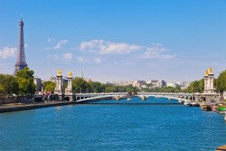 View at Eiffel Tower and one of bridges in Paris