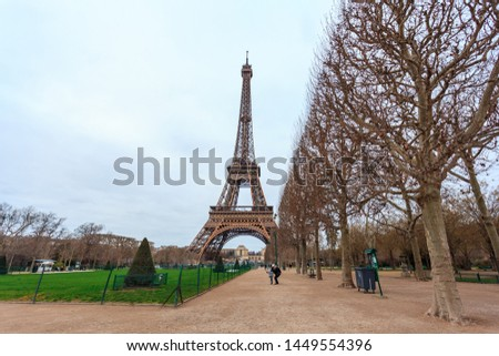 View at Eiffel Tower from the Champ de Mars (Field of Mars). Travel Stock photo ©