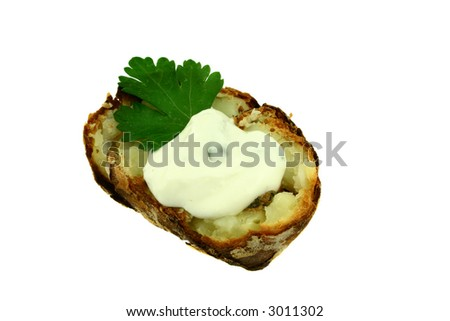 View at fresh baked potato isolated on white