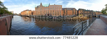 View at Hamburger Speicherstadt, a historic part of the city for storing goods near the harbor, Hamburg