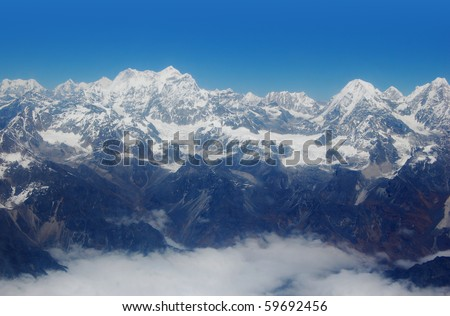 view at Himalayas and Mount Everest