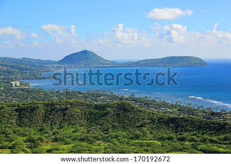View at Koko Crater from Diamond Head , Oahu, Hawaii