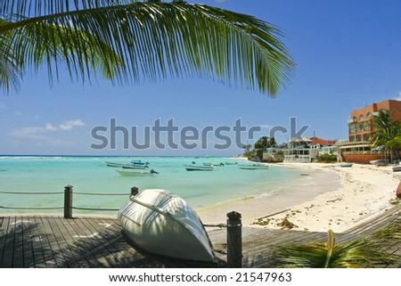 View at Lawrence Gap bay. Barbados.