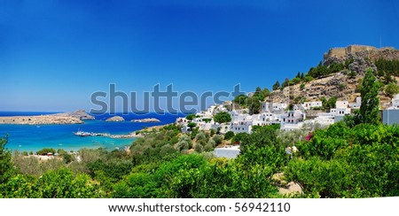 View at Lindou Bay from Lindos  Rhodes island, Greece.