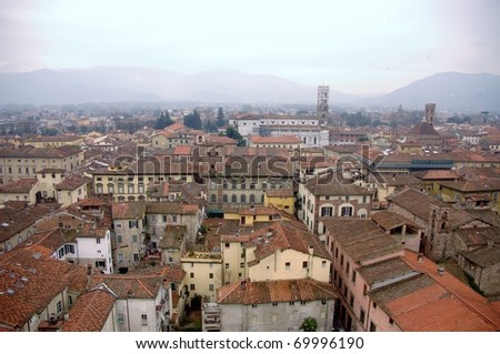 View at Lucca in Italy from the Guinigi tower