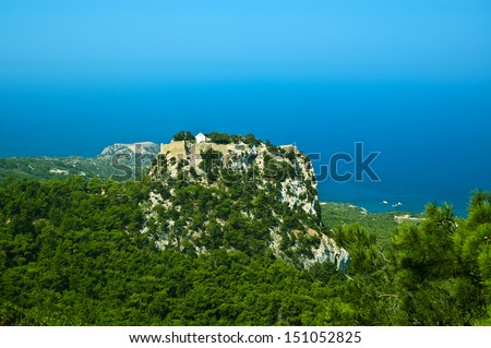 View at Monolithos knights castle and Aegean sea, Rhodes, Greece