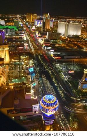 View at night from Eiffel Tower of Las Vegas Strip, Las Vegas, Nevada