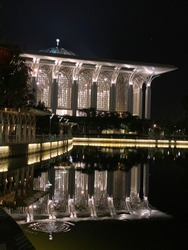 View at night time of Masjid Tuanku Mizan Zainal Abidin in Presint 3, Putrajaya, Malaysia. Also known as Masjid Besi, it structure is built with Architectural Wire Mesh.