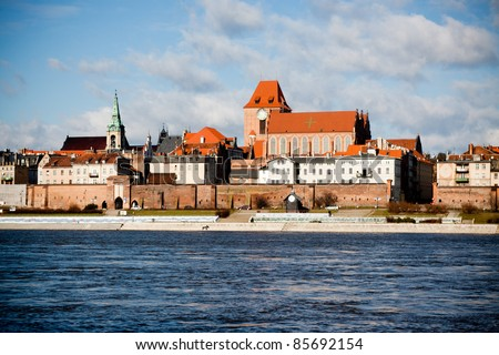 View at old city Torun and Vistula river, Poland