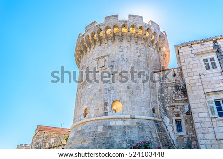 view at old historic tower in...