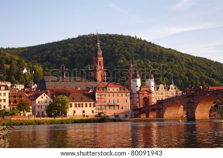 View at old town and city bridge in Heidelberg