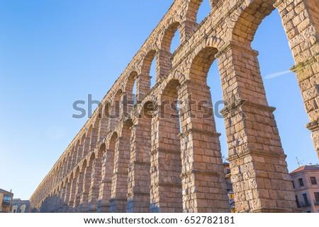 View at Plaza del Azoguejo and the ancient Roman aqueduct in Segovia, Spain V #652782181