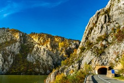 View at road in Danube gorge in Djerdap on the Serbian-Romanian border