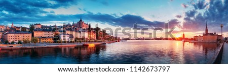 view at Stockholm at night in summer. Sunset with beautiful buildings in the capital of Sweden