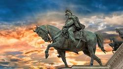 View at the bronze Equestrian sculpture of Victor Emmanuel II, Altare della Patria, Piazza Venezia, Rome, Italy.