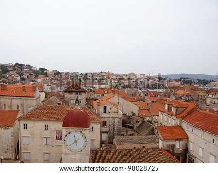 View at the center of the city Trogir with the historic bell tower in Croatia