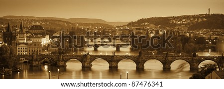View at The Charles Bridge  and Vltava river in Prague in dusk