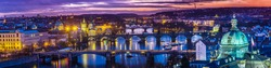 View at The Charles Bridge and Vltava river in Prague in dusk at sunset