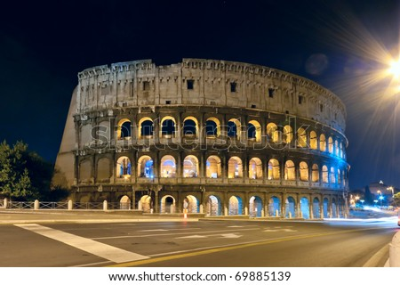 View at the colloseum at night, Rome, Italy