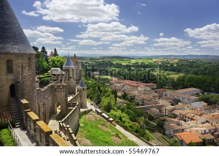View at the famous Carcassonne castle. France