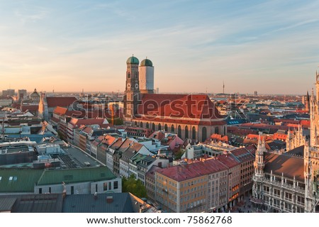 View at the famous Frauenkirche church in Munich, Germany